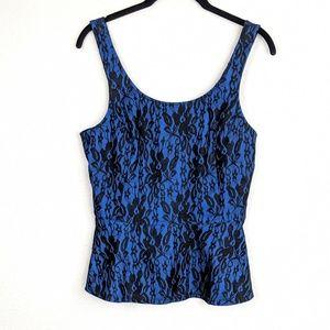 🌼Express Blue & Black Lace Peplum Tank Top Size S